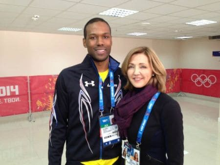 Chris Jansing with Shani Davis at 2014 Sochi Olympics