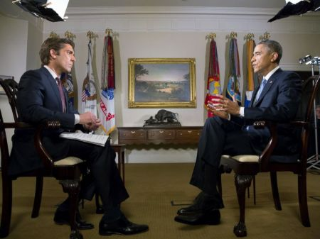 David Muir with former president Barack Obama