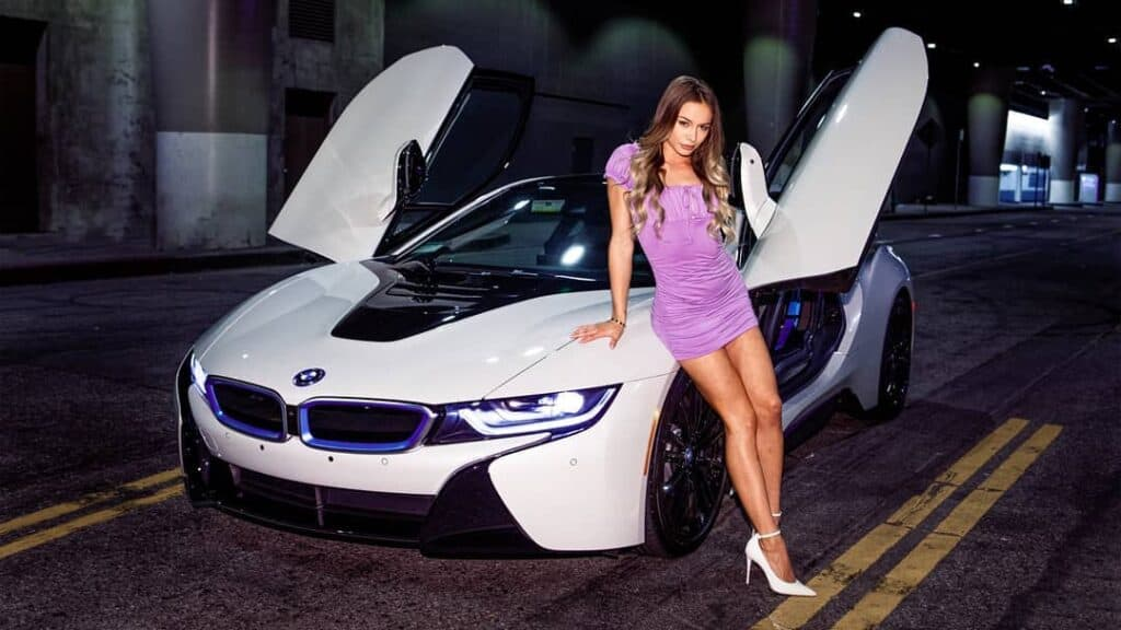 Naomi Swann with black and white BMW.