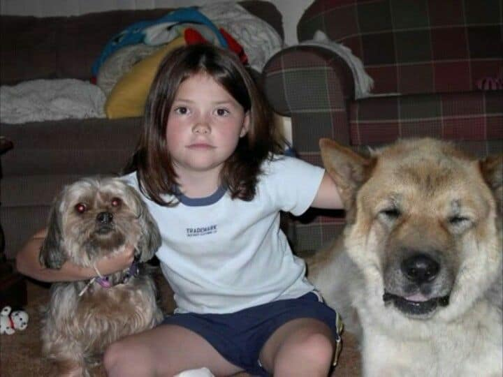 Little Alexandra Daddario with her pets.
