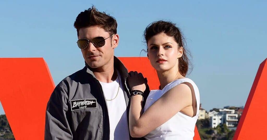 Alexandra Daddario with Zac Efron for photo call of Bay Watch in Australia.